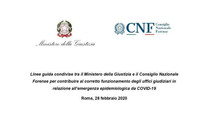 coronavirus linee guida ministero cnf